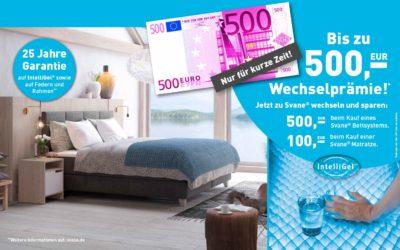 Bis zu 500,- € Wechselprämie wenn Sie zu einem Svane Bettsystem wechseln