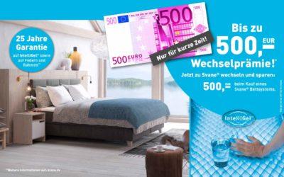 Auch 2019 wieder – bis zu 500,- € Wechselprämie wenn Sie zu einem Svane Bettsystem wechseln
